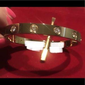 Jewelry - 18k GP ❤️ Bracelet Bangle w/ 10 CZ Stones